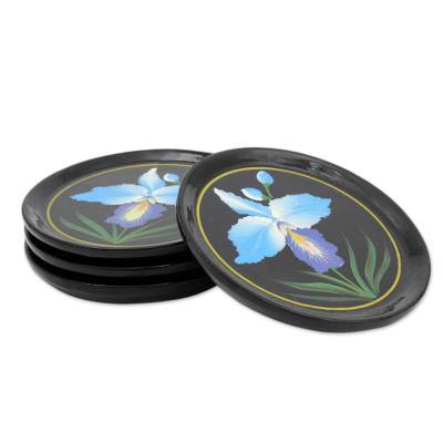 Hand-painted Lacquered Wood Coasters (set of 4)