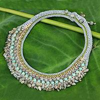 Labradorite and amazonite choker, 'Sweet Gray' - Thai Artisan Crafted Crocheted Labradorite Choker