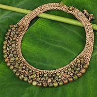 Unakite choker, 'Sweet Evergreen' - Thai Artisan Crafted Crocheted Unakite Choker