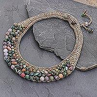 Jasper and serpentine choker, 'Sweet Earth' - Thai Artisan Crafted Crocheted Jasper and Serpentine Choker