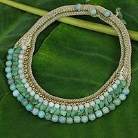 Amazonite choker, 'Sweet Mint' - Thai Artisan Crafted Crocheted Amazonite Choker