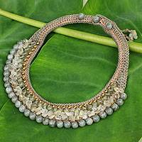 Rutile quartz and labradorite choker, 'Sweet Memories' - Thai Hand Crocheted Rutile Quartz and Labradorite Choker