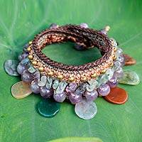 Jasper and amethyst wristband bracelet, 'Thai Petals' - Thai Artisan Crafted Crocheted Jasper and Amethyst Bracelet