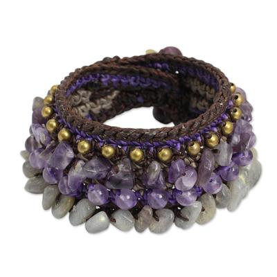 Thai Artisan Crafted Crocheted Amethyst Labradorite Bracelet