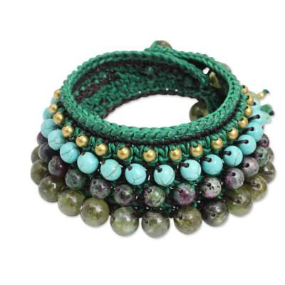 Thai Artisan Crafted Crocheted Zoisite and Prehnite Bracelet