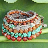 Carnelian and jasper wristband bracelet, 'Radiant Ginger' - Thai Artisan Crafted Crocheted Carnelian Jasper Bracelet