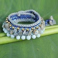 Aquamarine and labradorite wristband bracelet, 'Cool Sea' - Artisan Crafted Crocheted Aquamarine Labradorite Bracelet