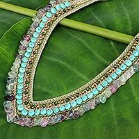 Fluorite beaded necklace, 'Tribal Paths' - Fluorite and Quartz Crochet Necklace