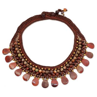 Knitted Choker Necklace with Brown and Red Gems