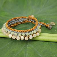 Agate beaded bracelet, 'Lanna Duet' - Agate and Quartz Handcrafted Bracelet