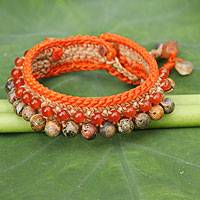 Carnelian and jasper beaded bracelet, 'Lanna Duet' - Carnelian and Jasper Crocheted Wristband Bracelet