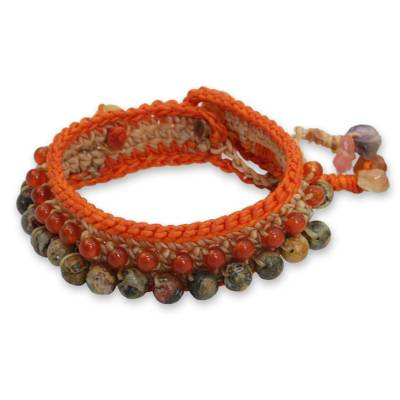 Carnelian and Jasper Crocheted Wristband Bracelet