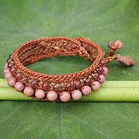 Rhodonite beaded bracelet, 'Lanna Duet' - Rhodonite and Quartz Handcrafted Bracelet