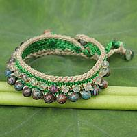 Fluorite beaded bracelet, 'Lanna Duet' - Fluorite and Dyed Agate Handcrafted Bracelet
