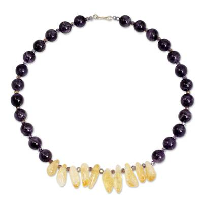 Beaded Amethyst and Citrine Handcrafted Necklace