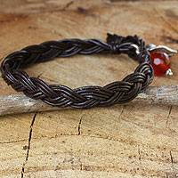 Carnelian and leather braided bracelet,