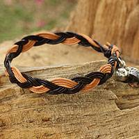 Smoky quartz and leather braided bracelet, 'Joyous Nature' - Braided Leather Smoky Quartz Bracelet with Hill Tribe Silver