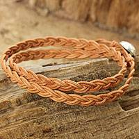 Leather wrap bracelet, 'Brown Braid' - Brown Braided Leather Bracelet with Hill Tribe Silver