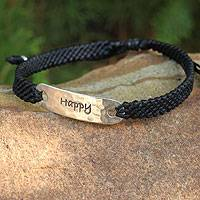 Silver accent wristband bracelet, 'Happy Desire' - Hand Made Inspirational Macrame Bracelet