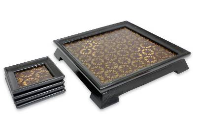 Handcrafted Gold leaf Set of Tray and 4 Coasters
