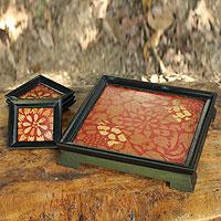 Wood tray and coasters,