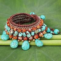 Carnelian beaded bracelet, 'Dawn Seas' - Carnelian Crocheted Beaded Wristband Bracelet