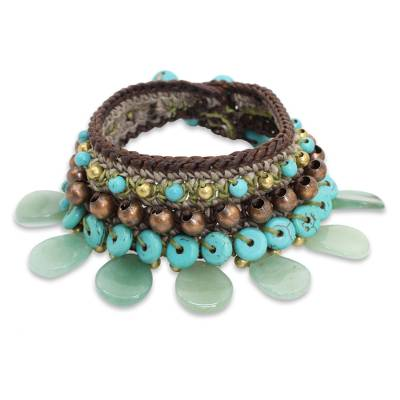 Knitted Bracelet with Blue and Green Color Multi-gems