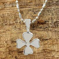 Sterling silver pendant necklace, 'Lucky Clover' - Silver Lucky 4-Leaf Clover Necklace