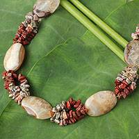 Agate and jasper beaded necklace, 'Gleaming Star' - Agate and Jasper  Beaded Necklace
