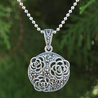 Sterling silver and marcasite flower necklace, 'Jasmine Wonder' - Marcasite on Sterling Silver Necklace Floral Jewelry