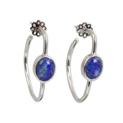 Modern Silver Half Hoop Earrings with Lapis Lazuli