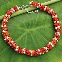 Cultured pearl and carnelian beaded necklace, 'Gracious Lady' - Thai Hand Knotted Pearl and Carnelian Beaded Necklace