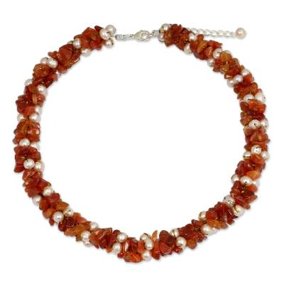 Thai Hand Knotted Pearl and Carnelian Beaded Necklace