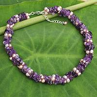 Cultured pearl and amethyst beaded necklace, 'Gracious Lady' - Pink Pearls and Amethyst Handmade Necklace