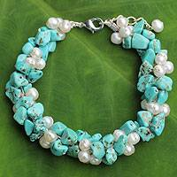 Cultured pearl beaded bracelet, 'Gracious Lady' - White Pearls and Blue Calcite Handmade Bracelet