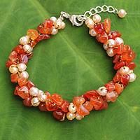 Cultured pearl and carnelian beaded bracelet, 'Gracious Lady' - Carnelian and Pearl Bracelet Handcrafted Jewelry