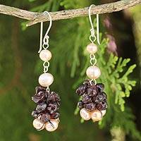 Cultured pearl and garnet beaded earrings,
