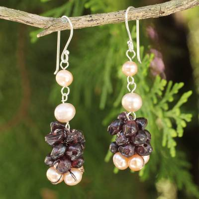 Cultured pearl and garnet beaded earrings, 'Gracious Lady' - Thai Hand Knotted Pearl and Garnet Beaded Necklace