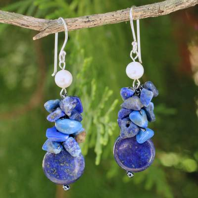 Cultured pearl and lapis lazuli cluster earrings, 'Exquisite Elegance' - Hand Knotted Pearl and Lapis Lazuli Thai Earrings