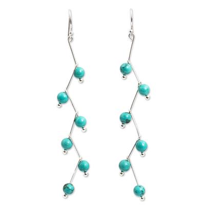 Modern Handcrafted Blue Calcite Dangle Earrings