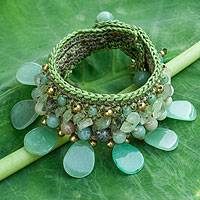 Amazonite and prehnite wristband bracelet, 'Dawn Forest' - Hill Tribe Quartz and Prehnite Wristband Bracelet