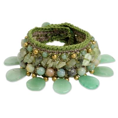 Hill Tribe Quartz and Prehnite Wristband Bracelet