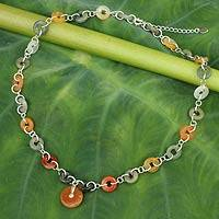 Jade pendant necklace, 'Natural Variety' - Green and Orange Jade in Sterling Silver Necklace