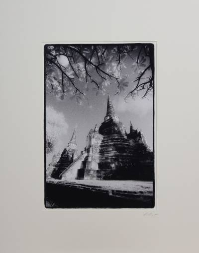 'Graceful Wat Phra Sri Sanphet' - Signed Thai Temple Black and White Photograph