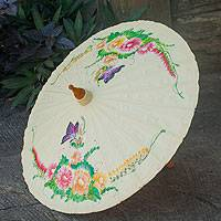 Cotton and bamboo parasol, 'Butterfly Paradise' - Cotton and Bamboo Handcrafted Parasol
