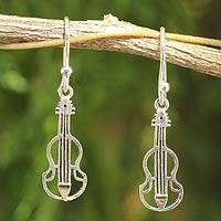 Sterling silver dangle earrings, 'Thai Violin' - Music Theme Sterling Silver Earrings