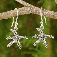 Sterling silver dangle earrings, 'Ocean Angel' - Starfish Sterling Silver Dangle Earrings