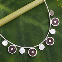 Sterling silver and coconut shell necklace, 'High Energy' - Handcrafted Sterling Silver Necklace with Coconut Shell