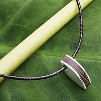 Men's sterling silver and wood necklace, 'Naturally Original' - Men's Necklace Fair Trade Jewelry