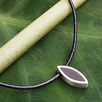 Men's sterling silver and wood necklace, 'Eye on Nature' - Men's Necklace Fair Trade Jewelry